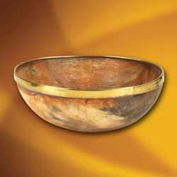 This all-natural horn bowl has a brass rim. Perfect for Viking and medieval themes!