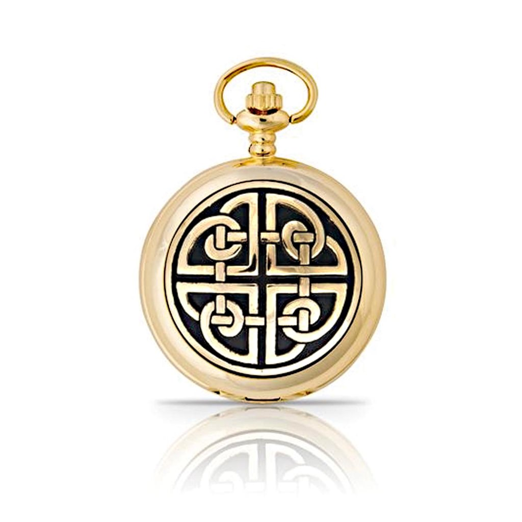 Picture of Gold Celtic Square Knot Mechanical Pocket Watch