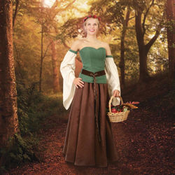 Ladies Forest Gown ensemble with Green Corset, Ivory Sleeves, Brown Skirt and Belt