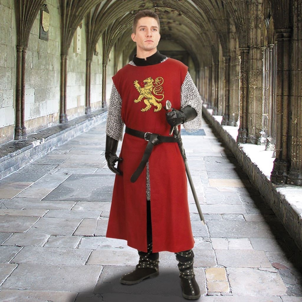 Burgundy Solid Quartered Cotton Tunic with Rampant Lion Embroidery