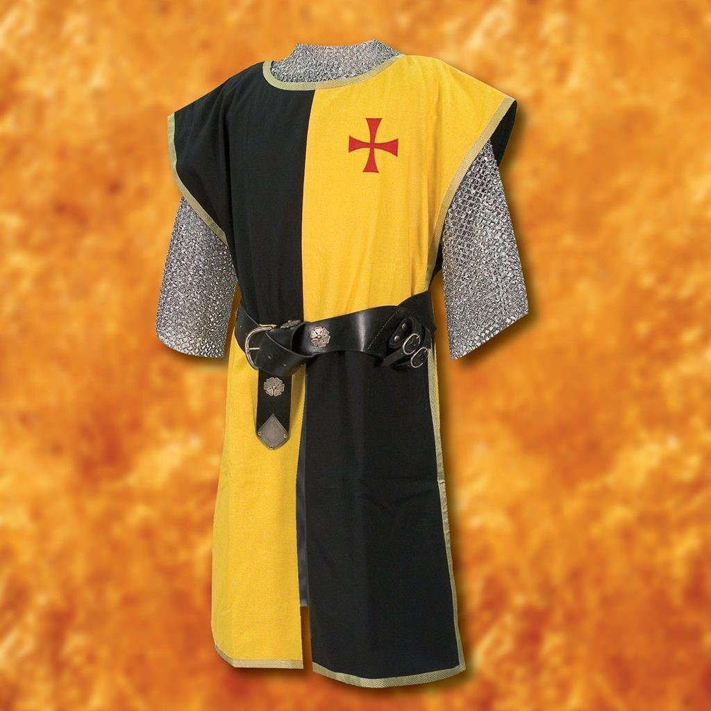 Yellow & Black Knightly Tunic Embroidered with Red Cross of the Templars