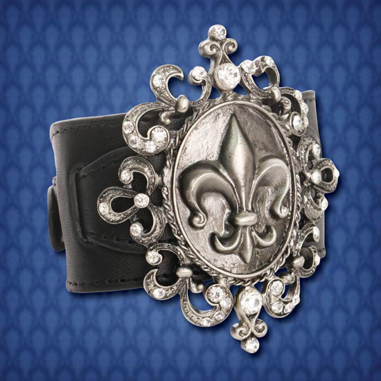 Picture of Fleur de Lis Leather Band Cuff Bracelet