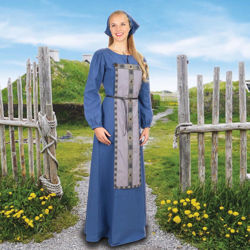 Dusty blue cotton twill Ladies Viking Dress with Apron Panel