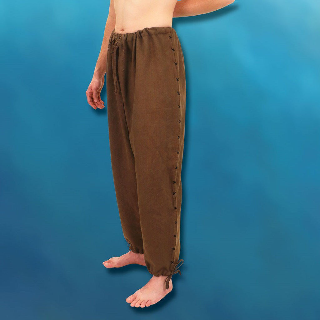 Hand Woven & Stitched Cotton Men's Drawstring Pants - Brown