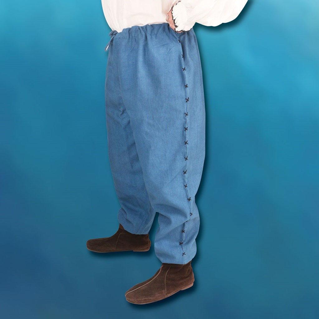 Hand Woven & Stitched Cotton Men's Drawstring Pants - Blue
