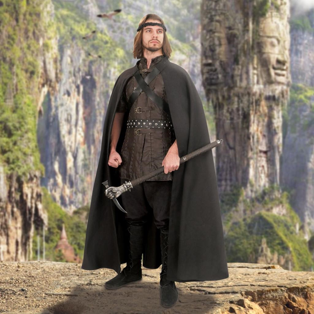 Adventurer's Woven Black Cotton Cape