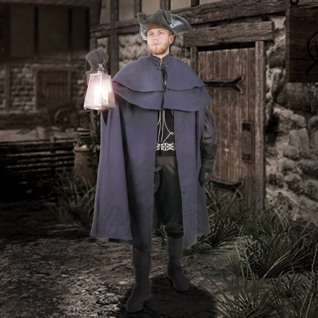 This heavy navy wool cloak has a double mantle and can be worn as a traditional cape or as a coat by sliding your arms through the two side-slits