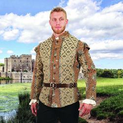 Doublet is heavy cotton golden brocade fabric with cap sleeves and a button front with antiqued buttons