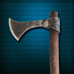 hand-forged, high-carbon steel medieval throwing axe has rustic forge finished blade and curved wooden shaft