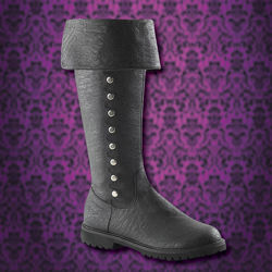 Funtasma black faux leather Gothic boots shown with cuff down, eleven metal buttons on the side, two straps at top