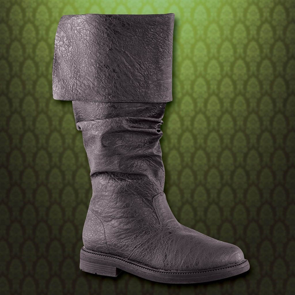 Black cuffed, knee-high boots are faux leather and can be worn folded or unfolded, depending on your period attire.