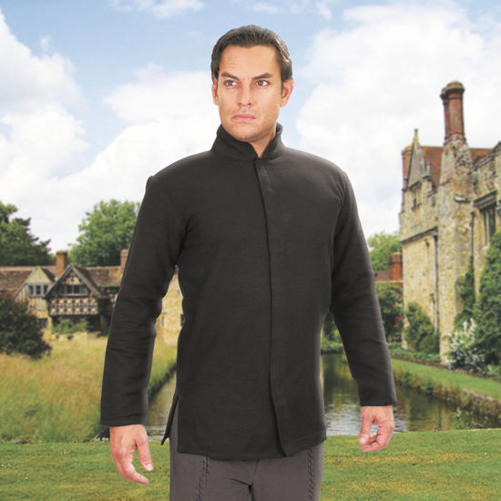 lightweight alternative for padded gambeson made of 100% black cotton weave fabric with Nehru collar, side slits and Velcro front
