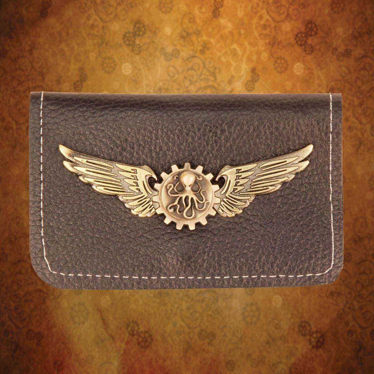 Steampunk Brown Leather Wallet folded