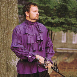 Purple Nobles Renaissance Shirt with ruched collar, three-tiered cascading front ruffle, ruffle sleeves and pearl buttons