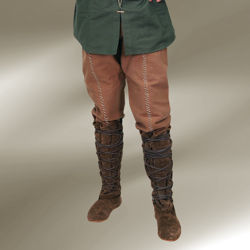 Brown with natural-colored stitching Locksley pants are 100% cotton with an elastic waistline