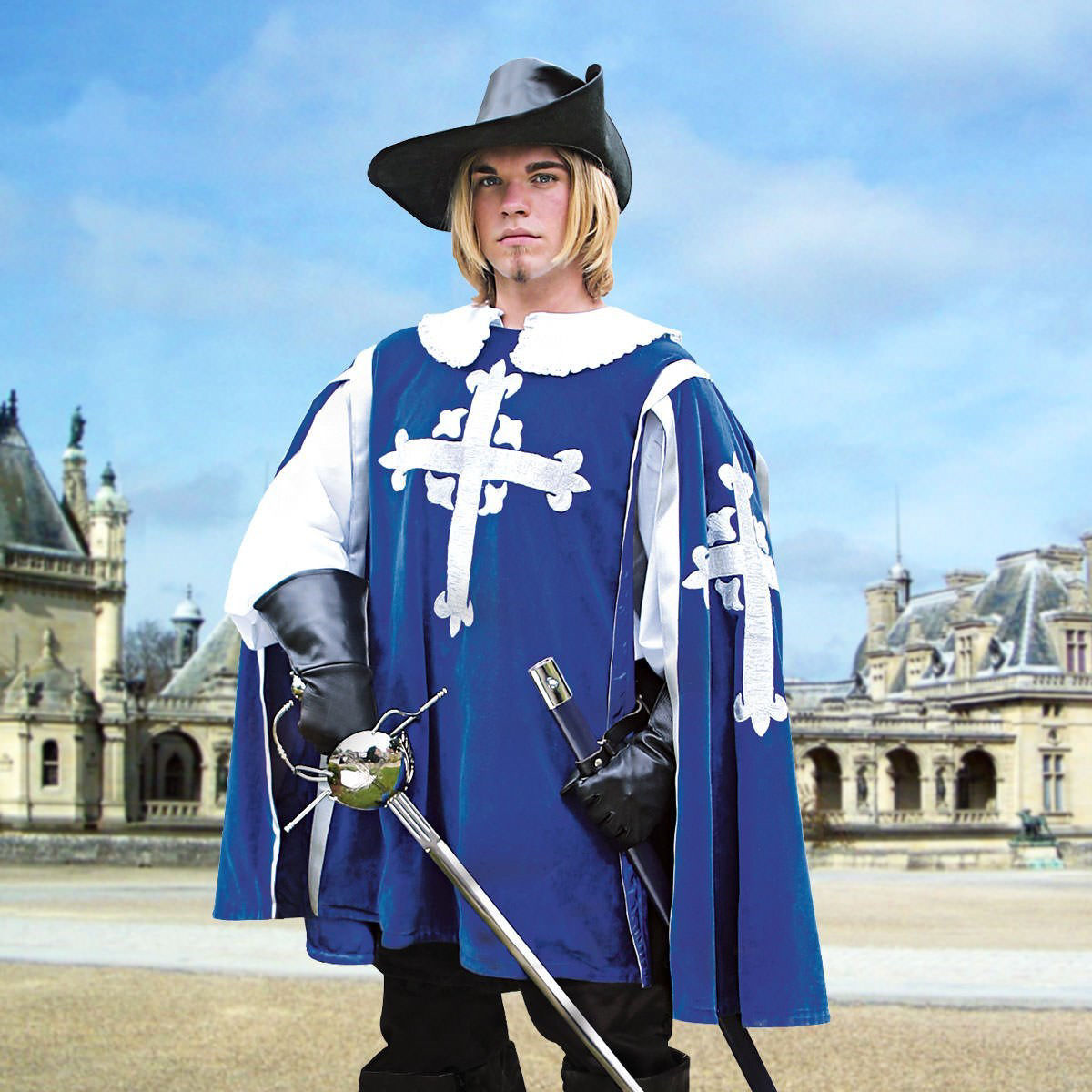 Blue cotton velvet Musketeer Tabard has matching satin lining and embroidered silver crosses with fleur-de-lis on the front and sides