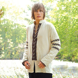 Lace-up cotton shirt has padded sleeves and can be used as a gambeson. Features a Nordic string design.