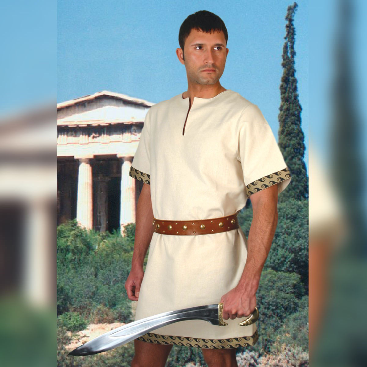 Short cut Greek tunic is 100% woven cotton, short sleeves and bottom are accented with a Greek trim