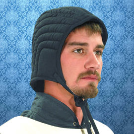 Quilted cotton arming cap stuffed with fiberfill and a tie cord under the chin to keep it secure
