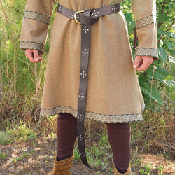 Leather Medieval Long Belt with Nickel studs