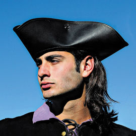 Capt. Jack Tricorn Pirate Hat is made of top grain leather with a weathered finish.