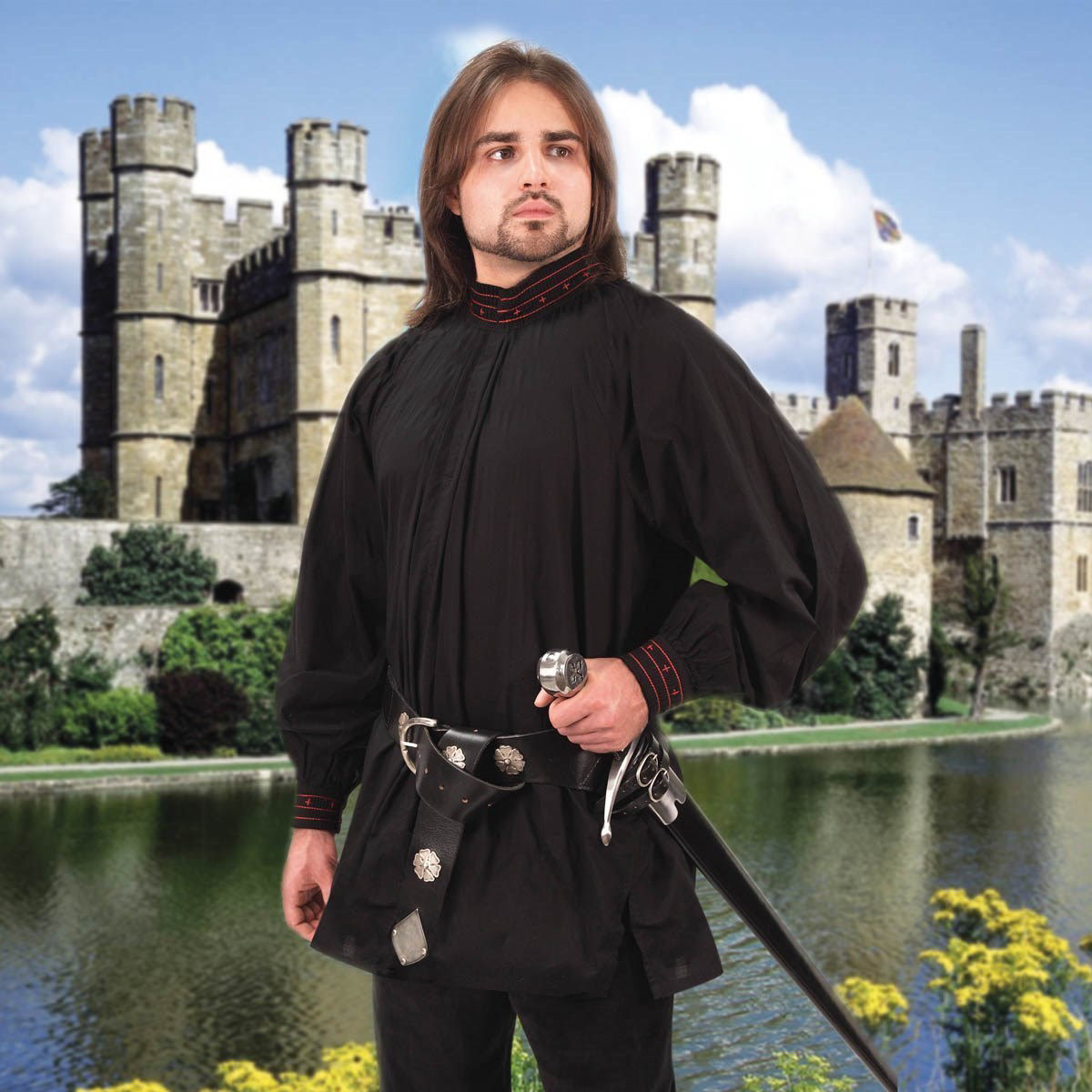 cotton Tudor Renaissance shirt is black with red trim and crosses, can be worn with collar open or closed
