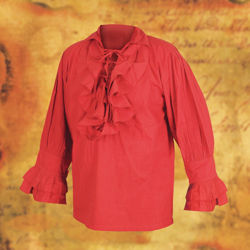 Red Tortuga ruffle front pirate shirt with 6 lace-up ties, gathered shoulders and 2 lace-up ties at the ruffled cuff wrists