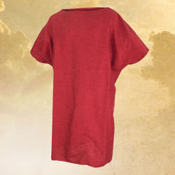 Simple, 100% cotton Roman tunic is two pieces of fabric sewn together with open slits for the head and arms and frayed edges