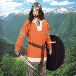 Rust orange woven cotton Viking tunic has lace collar, wide edging at collar and hem, and period trim on the sleeves and hem