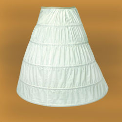 light polyester-cotton blend hoop underskirt has 5 metal rings forming the boning to shape your skirt in an umbrella shape
