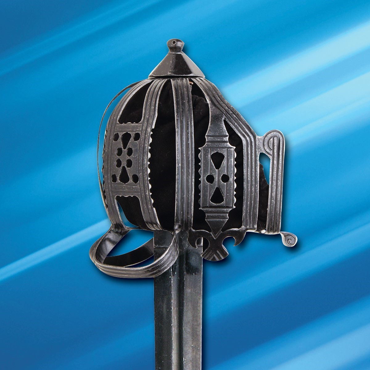 Battlecry Culloden Basket-Hilt Sword has darkened steel basket guard adorned with circular and diamond-shaped cutouts
