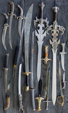 A sample of styles for Medieval Swords