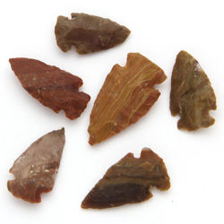 Set of 6 Agate Arrowheads Small