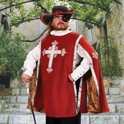 Red cotton velvet Tabard has antique gold rayon lining and embroidered crosses with fleur-de-lis on chest and sleeves