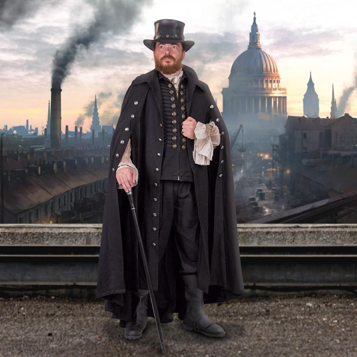 Commandant Men's Black Gothic Cloak
