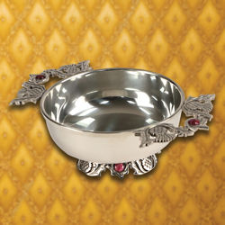 Quaich Pewter Bowl with Pink Stones
