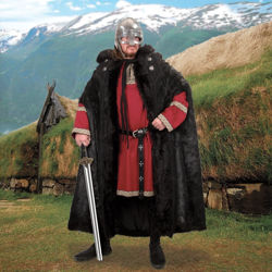 Full-Length Ragnar Black Faux Fur Cloak