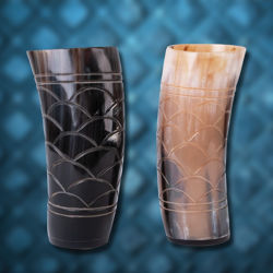 Carved Horn Drinking Cup Set
