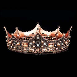 Isolde Metal Crown with Pearls and Rhinestones