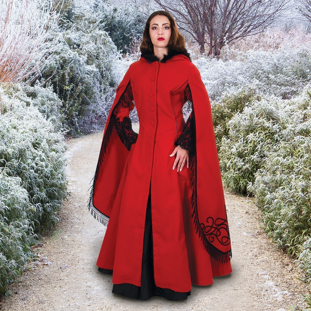 Red Queen Coat Fur Trimmed Hooded Cloak