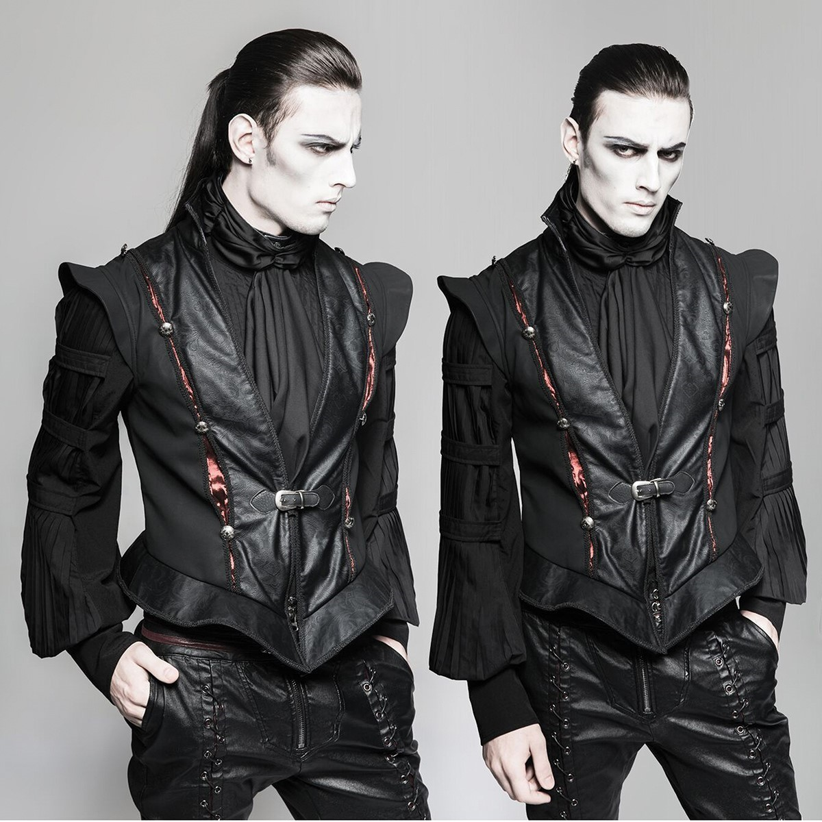 Peasecod Gothic Black Faux Leather Palace Vest
