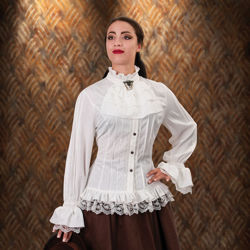 Lace and Ruffle High Collar Fitted Steampunk White Blouse