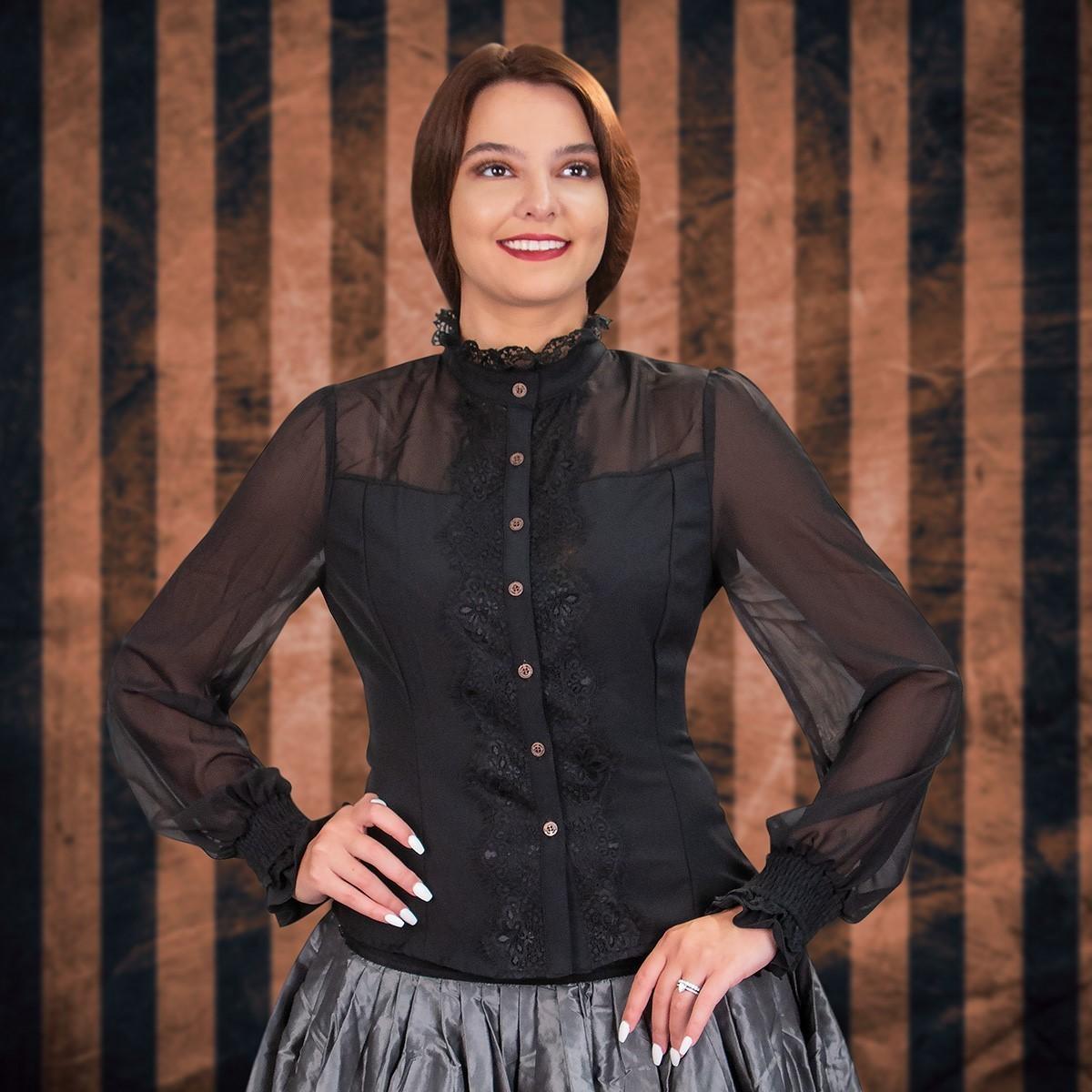 Sheer Period Black Steampunk Shirt