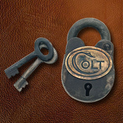period correct replica Colt Padlock is a rusted, working steel lock perfect for antique firearms or lockbox, includes 2 keys