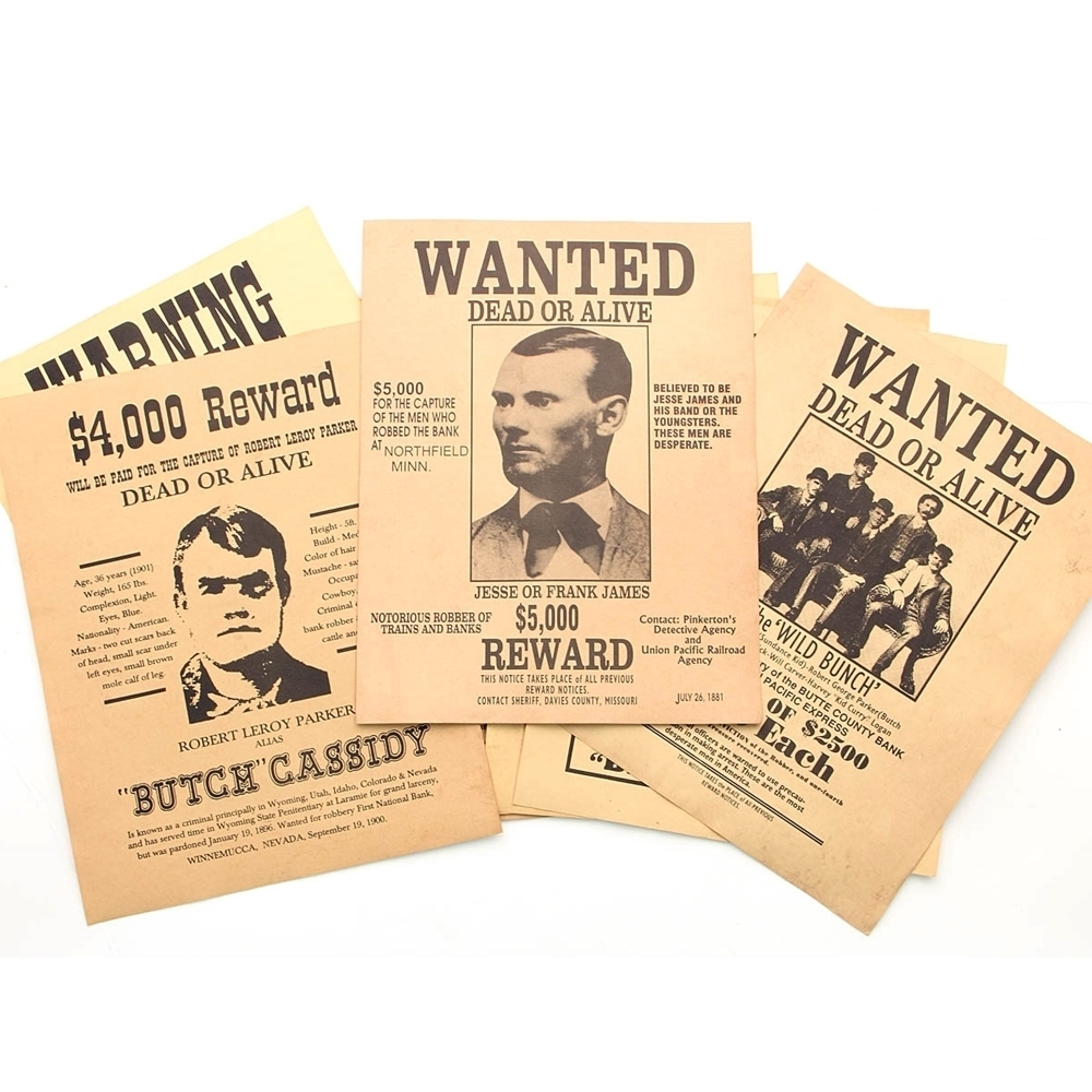Old West Wanted Posters 12 Sheet Set