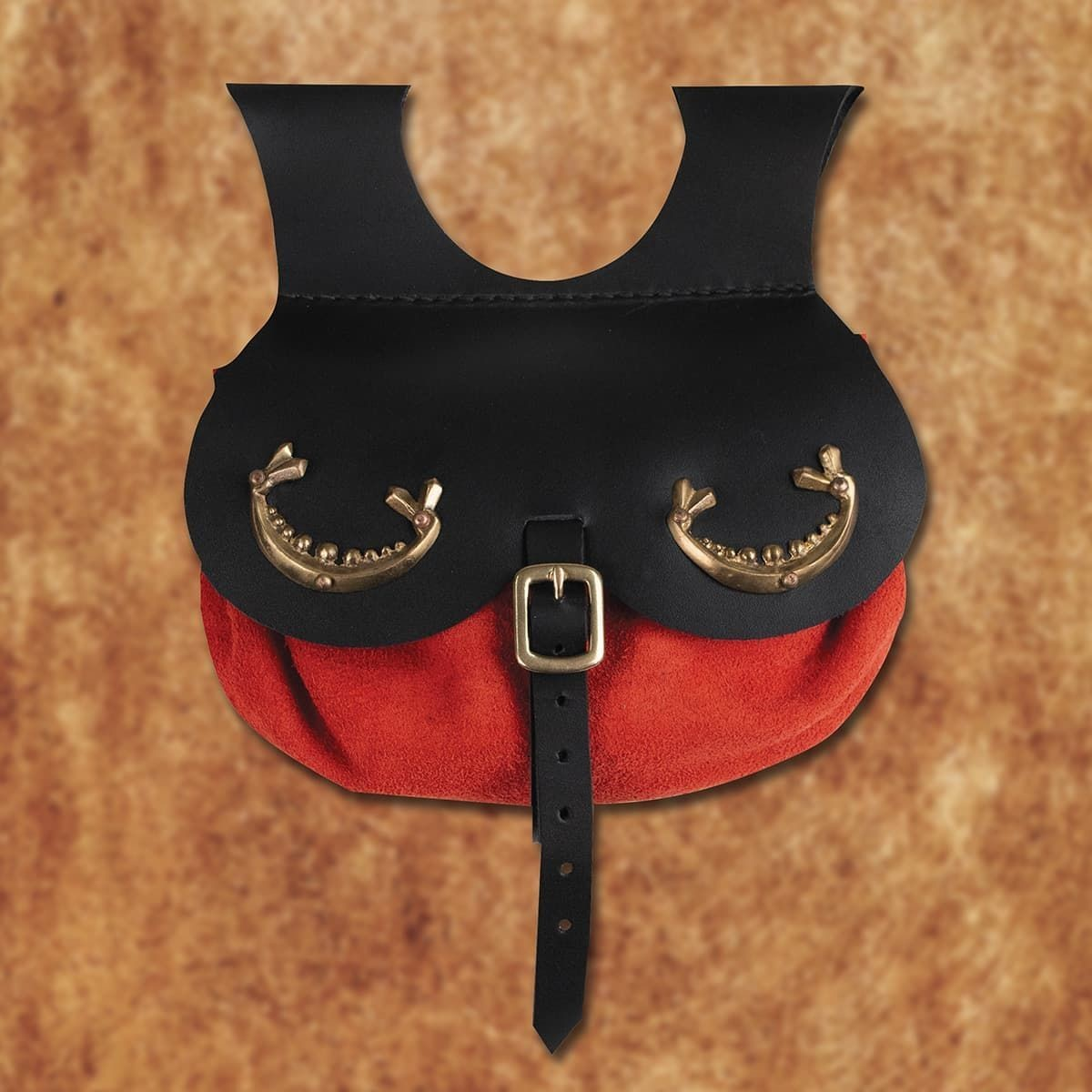 Viking Thane's Leather Pouch in Red