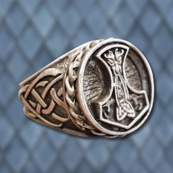 Thor's Hammer Pewter Viking Ring