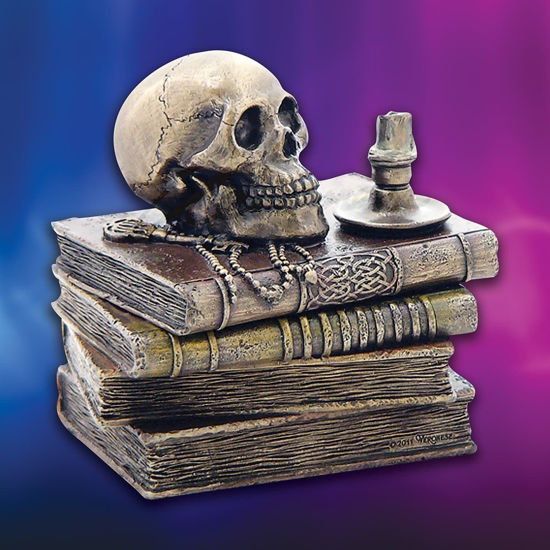 Wizard's Study Trinket Box in cold-cast resin has books, candle skull, and key in an antique bronze finish