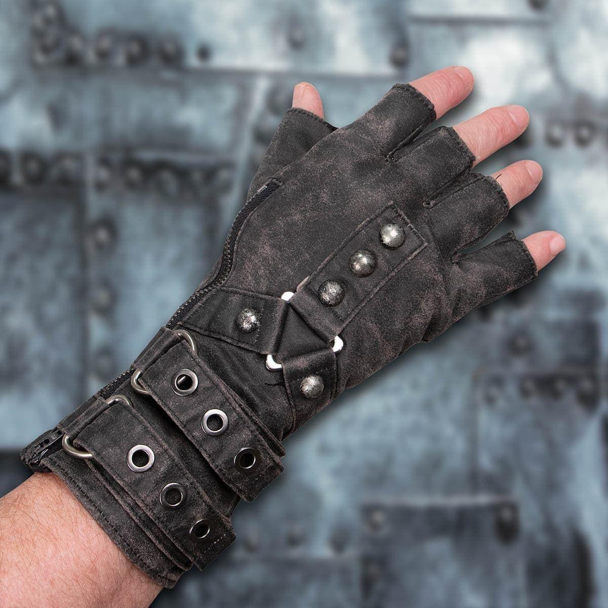 grey fingerless glove