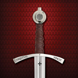Engraved crossguard of Faithkeeper Sword with ~Christus Vincit ~ Christ Conquers
